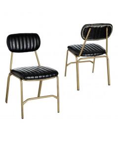 Chaise en simili cuir noir, métal doré (Lot de 2) - Olivia  Yesdeko