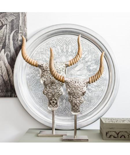 Tête de taureau et corne en bois sur socle |YESDEKO