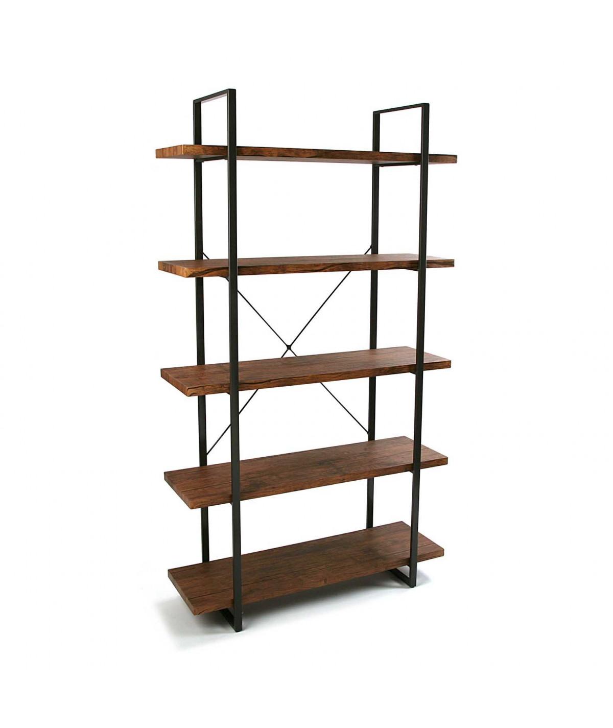 Etagère en bois à 4 niveaux et métal noir - Bibliothèque - Etagère|Yesdeko