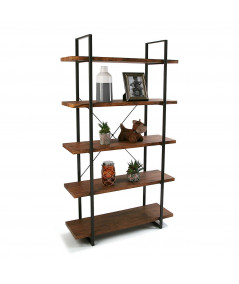 Etagère en bois à 4 niveaux et métal noir 100x33x179cm - Eva |YESDEKO