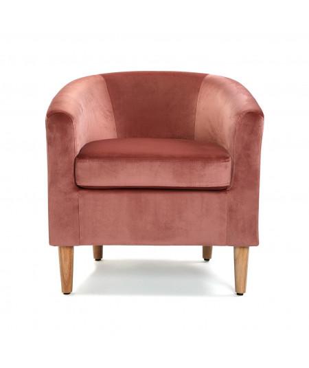 Fauteuil club en velours rose poudré - Pink - Fauteuil uni   Yesdeko