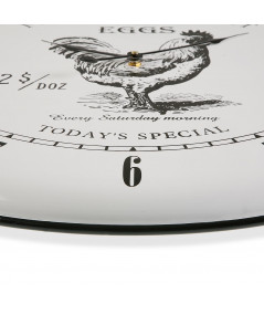Horloge murale en métal blanc Diam61cm - Coq - Horloge murale|Yesdeko