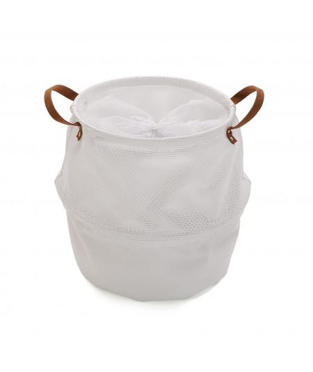 Panier à linge blanc souple avec poignée |YESDEKO