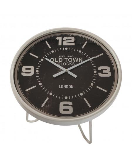 Bout de canapé rond blanc plateau horloge 66x76cm - Nina |YESDEKO