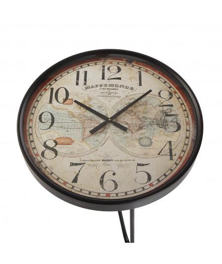 Bout de canapé rond noir plateau horloge 66x76cm - Nina |YESDEKO