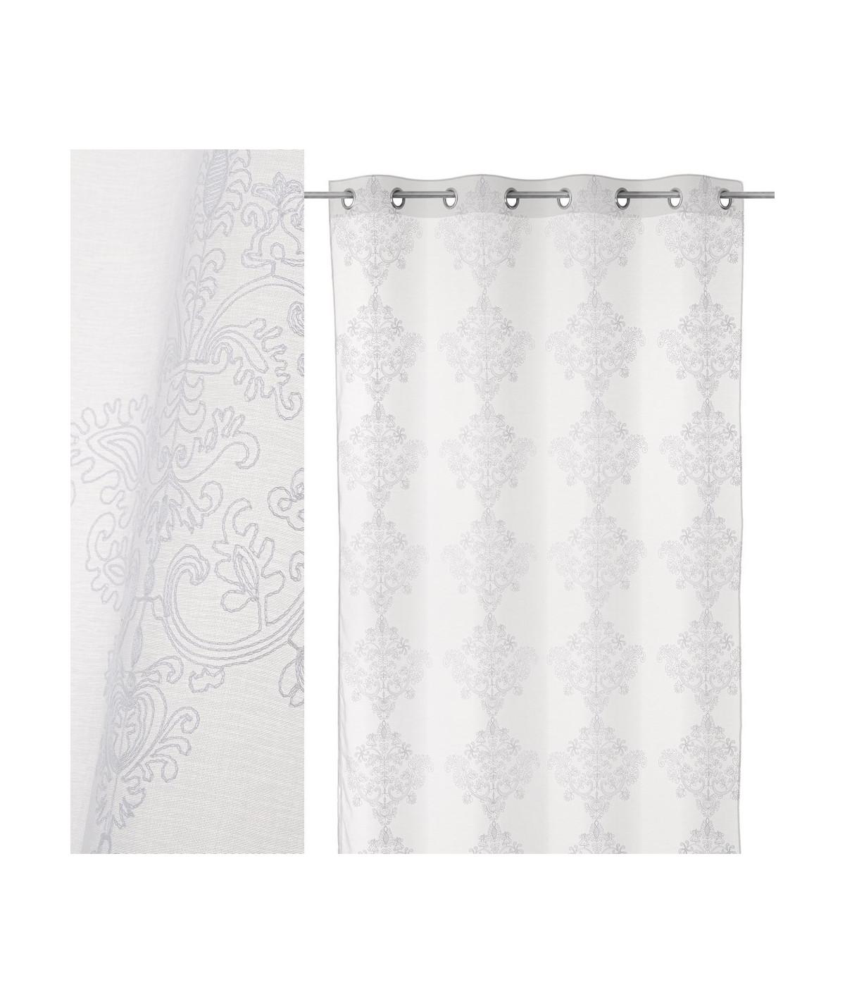 Voilage blanc style broderie (Lot de 2) 140x260cm Emotion |YESDEKO