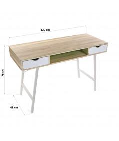 Bureau en bois beige à 2 tiroirs - Lolita |YESDEKO