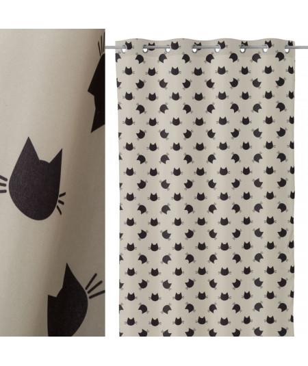 Rideau pour chambre enfant en microfibre 135x260cm - Chats |YESDEKO