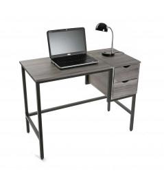 Bureau en bois et structure en métal gris, 2 tiroirs - Grey  YESDEKO