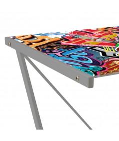 Bureau en verre 120x60x75cm - Graffiti   Yesdeko