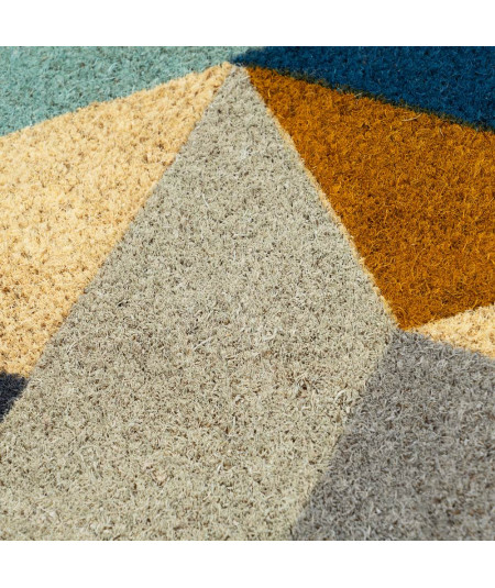 Paillasson coco géométrique 60x40cm - Bleuté |YESDEKO