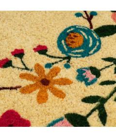 Paillasson coco rond Diam60cm - Floral   Yesdeko