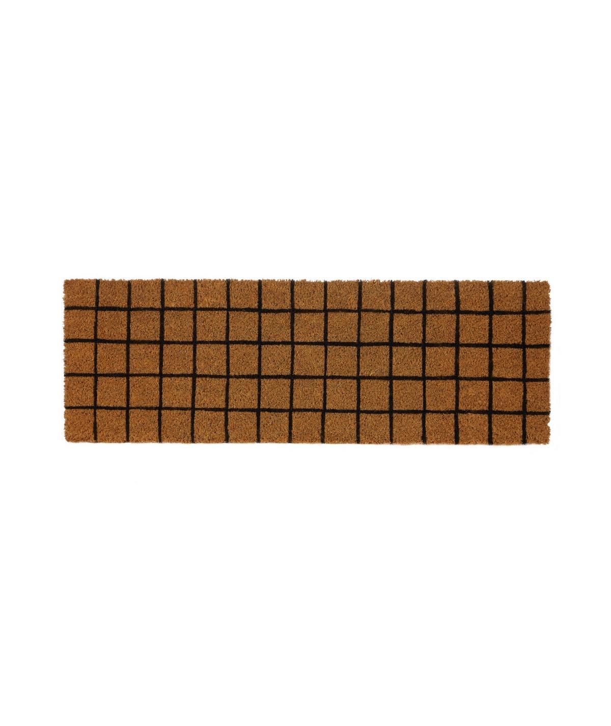 Paillasson coco allongé 75x25cm - Quadrillé noir |YESDEKO