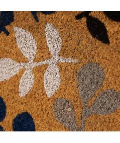 Paillasson coco motif floral bleu et gris 60x40cm   Yesdeko