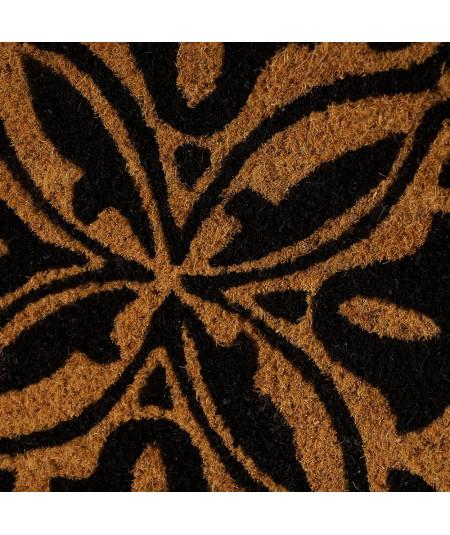Paillasson coco beige et noir 60x40cm - Mandala |YESDEKO