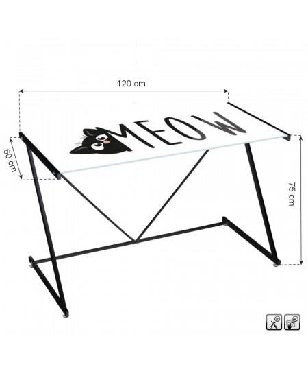 Bureau en verre, pied en métal noir - Meow | Yesdeko