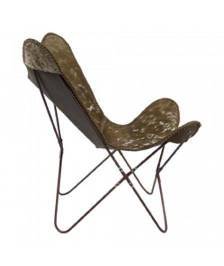 Chaise pliable en cuir brun - Papillon |YESDEKO