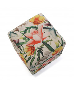 Pouf cube motif floral rose et beige 35x35cm |YESDEKO