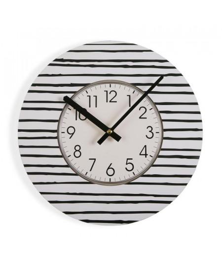 Horloge murale rayures noir et blanc Diam29cm - Line |YESDEKO