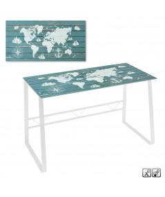 Bureau avec plateau en verre 120x60x75cm - World   Yesdeko