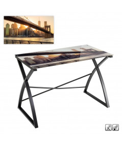 Bureau en verre motif sous verre 110x60x75cm - Brooklyn | Yesdeko