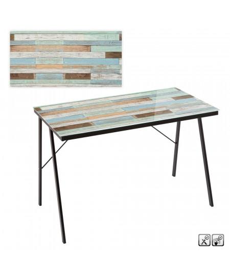 Bureau en verre motif bois 110x60x75cm - Woods |YESDEKO