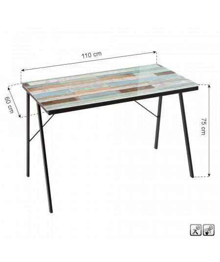 Bureau en verre motif bois 110x60x75cm - Woods   Yesdeko