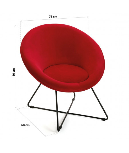 Fauteuil rond en velours rouge - Nyva - Fauteuil uni | Yesdeko