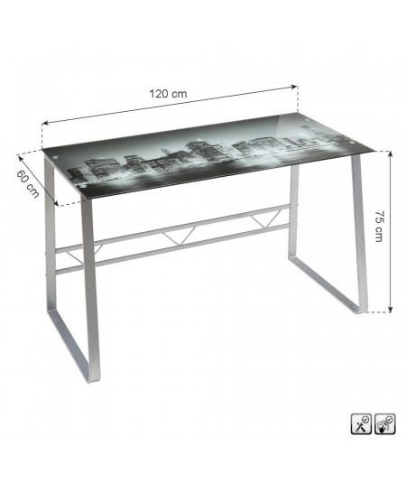 Bureau en verre et métal 120x60x75cm - City |YESDEKO
