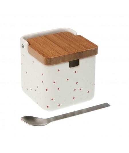 Sucrier en céramique, et sa cuillère assortie - Etoile - Outlet|Yesdeko