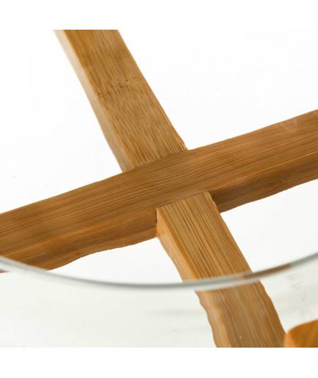 Saladier en verre avec couverts et socle bambou  YESDEKO