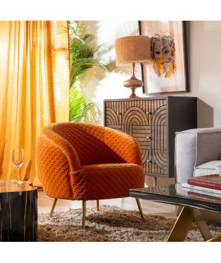 Fauteuil en velours matelassé mandarine arrondi - Tyna   Yesdeko
