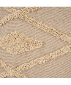 Tapis fin en coton tissé beige et franges 130x160cm |YESDEKO