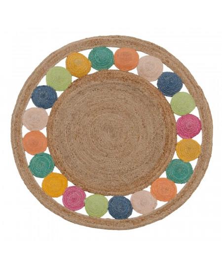 Tapis jute rond multicolore Diam120cm - Spot |YESDEKO