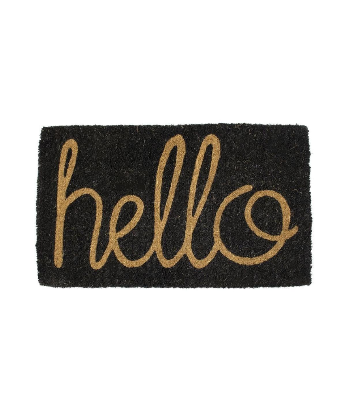Paillasson coco fait main 75x45cm - Hello |YESDEKO